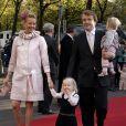 Le prince Friso d'Orange-Nassau et la princesse Mabel avec leurs filles Luana et Zaria arrivant le 20 octobre 2007 pour le baptême de la princesse Ariane, à La Haye.