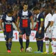 Lucas Moura, Zlatan Ibrahimovic et Thiago Silvaau Parc des Princes pour le match entre le PSG et AC Ajaccio (1-1), le 18 août 2013.
