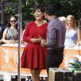 Kris Jenner et Mario Lopez sur le plateau de l'émission Extra à Los Angeles, le 20 août 2013.