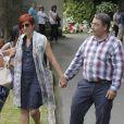 Sandra Ortega Mera avec son mari Pablo le 17 août 2013 aux funérailles de Rosalia Mera, cofondatrice de l'empire Inditex (Zara, Bershka, Massimo Dutti) décédée le 15 août 2013, célébrées à la paroisse Santa Eulalia de Liáns d'Oleiros, commune de la région de La Corogne.
