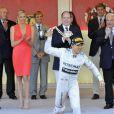 Le prince Albert II de Monaco et la princesse Charlene, Andrea Casiraghi et Tatiana Santo Domingo, Pierre Casiraghi et Beatrice Borromeo et le vainqueur Nico Rosberg lors du Grand Prix de Monaco de Formule 1 le 26 mai 2013