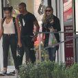 """Exclusif : Madonna, Brahim Zaibat et Lourdes quittant le palais des Congrès où la star a assisté aux répétitions du show musical événement """"Robin des Bois"""", le 30 août 2013."""