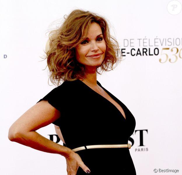 Ingrid Chauvin, enceinte, à la cérémonie d'ouverture du 53e festival de Monte-Carlo au Forum Grimaldi à Monaco, le 9 Juin 2013.