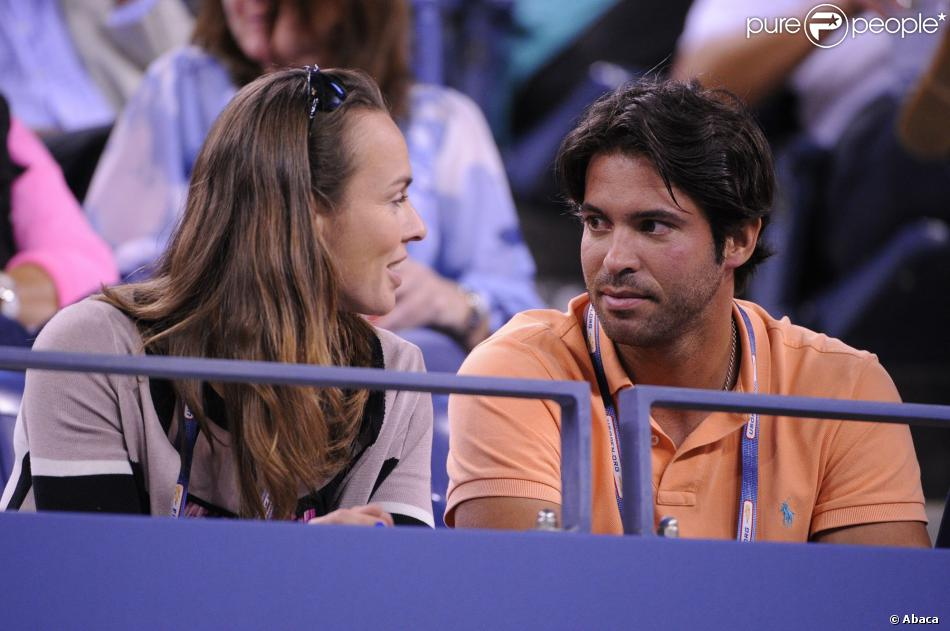 Martina Hingis et David Tosas Ros, son nouveau boyfriend, à l'US Open le 4 septembre 2013.