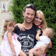 Exclusif - Carlos Moya fête ses 37 ans avec sa femme Carolina Cerezuela et leurs deux enfants à Majorque en Espagne le 27 août 2013.