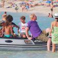 Boris Becker en vacances avec sa femme Lilly Kerssenberg et ses enfants à Formentera en Espagne le 21 juillet 2013.