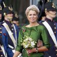 La reine Maxima des Pays-Bas, en vert à nouveau, inaugurait le 13 septembre 2013 à Leeuwarden les nouveaux locaux du Musée frison (Fries Museum).