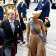 Cérémonies du Prinsjesdag  (''Jour du prince''), le 17 septembre 2013 à La Haye. Le roi Willem-Alexander des Pays-Bas, entouré de son épouse la reine Maxima, de son frère le prince Constantijn et de sa belle-soeur la princesse Laurentien, accomplissait pour la première fois au Binnenhof, sur le Trône de la Salle des Chevaliers, le rituel marquant l'ouverture de l'année politique, avant de rallier le palais Noordeinde pour saluer la foule de ses sujets.