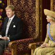 Premier Discours du Trône pour Willem-Alexander, sous le regard attentif et fier de Maxima. Cérémonies du Prinsjesdag  (''Jour du prince''), le 17 septembre 2013 à La Haye. Le roi Willem-Alexander des Pays-Bas, entouré de son épouse la reine Maxima, de son frère le prince Constantijn et de sa belle-soeur la princesse Laurentien, accomplissait pour la première fois au Binnenhof, sur le Trône de la Salle des Chevaliers, le rituel marquant l'ouverture de l'année politique, avant de rallier le palais Noordeinde pour saluer la foule de ses sujets.