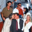 Patrick Swayze aux côtés de sa maman décédée à l'âge de 86 ans, Patsy, pour inaugurer son étoile, à Los Angeles le 20 août 1997.