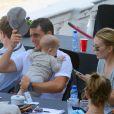 Marta Ortega, Sergio Alvarez Moya et leur fils Amancio, 6 mois, lors du Jumping international de Barcelone le 27 septembre 2013.