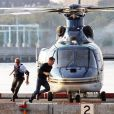 Kevin Costner et Chris Pine sur le tournage du film Tom Clancy's Jack Ryan à New York le 1er septembre 2012