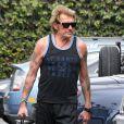 Johnny Hallyday arrive au club Gold's Gym à Venice, le 13 septembre 2013.