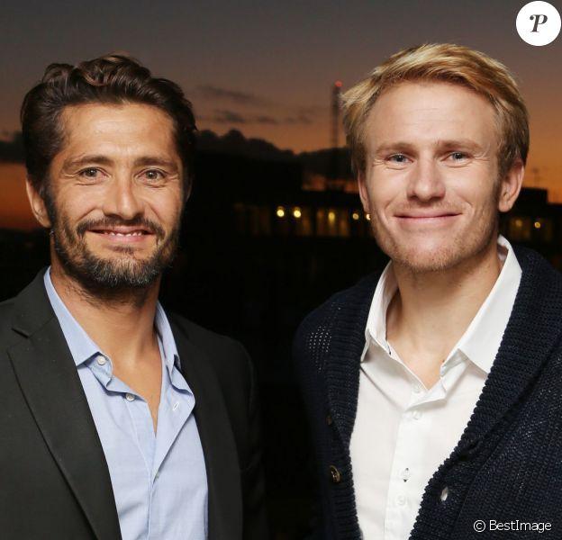 Bixente Lizarazu et le navigateur Francois Gabart, nouveaux ambassadeurs de la marque Biotherm Homme à Paris le 15 octobre 2013 - Exclusif