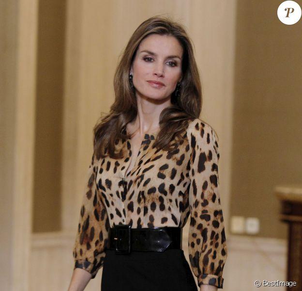 La princesse Letizia d'Espagne en audience le 21 octobre 2013 au Palais de la Zarzuela, à Madrid.