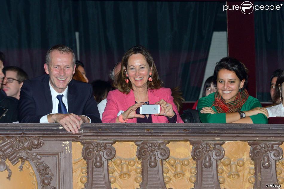 Guillaume Garot, Ségolène Royal et Najat Vallaud-Belkacem au concert de Joyce Jonathan, au Trianon, à Paris, le 29 octobre 2013.