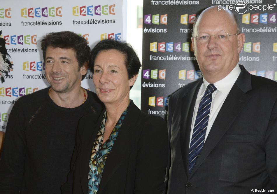 Patrick Bruel (parrain), Laurence Tiennot-Herment (présidente de l'AFM-Téléthon) et Remy Pflimlin - Conférence de presse du Téléthon 2013 chez France Télévisions à Paris le 6 novembre 2013.