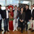 Elyas Akhoun, Bruno Guillon, Cyril Féraud, Benoît Chaigneau, Sophie Jovillard, Olivier Delacroix, Damien Thévenot - Conférence de presse du Téléthon 2013 chez France Télévisions à Paris le 6 novembre 2013.cyril