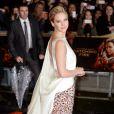 Jennifer Lawrence à l'avant-première mondiale du film Hunger Games : L'Embrasement à Londres le 11 novembre 2013.