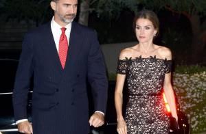Letizia d'Espagne : Glamour, les épaules dénudées, au bras de Felipe