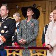 La princesse Charlene, le prince Albert de Monaco, la princesse Caroline de Hanovre et la princesse Stéphanie de Monaco lors de la cérémonie du Te Deum en la cathédrale Notre-Dame-Immaculée, lors de la Fête nationale à Monaco. Le 19 novembre 2013.