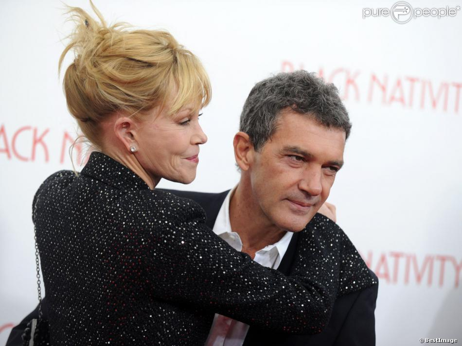 Melanie Griffith et Antonio Banderas à la première de Black Nativity à New York le 18 novembre 2013.