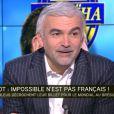 Pascal Praud invité de la matinale d'i-TELE de Bruce Toussaint, le 20 novembre 2013 après la victoire des Bleus sur l'Ukraine la veille, leur ouvrant les portes du mondial brésilien de 2014