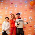 Natalia Vodianova, enceinte, présente au coté de Tutta Larsen et Andrei Bartenev son projet caritatif Give a Smile au Garage Centre for Contemporary Culture. Moscou, le 20 novembre 2013.