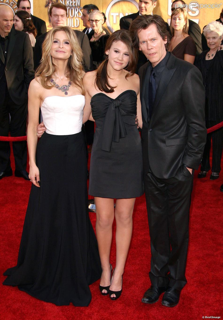 Kevin Bacon et Kyra Sedgwick avec leur fille Sosie Bacon à la cérémonie des SAG Awards, le 25 janvier 2009 à Los Angeles