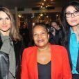 Aurélie Filippetti, Christiane Taubira et Yamina Benguigui - Soirée de soutien du monde la culture à Christiane Taubira au Théâtre du Rond-Point à Paris, le 2 décembre 2013.
