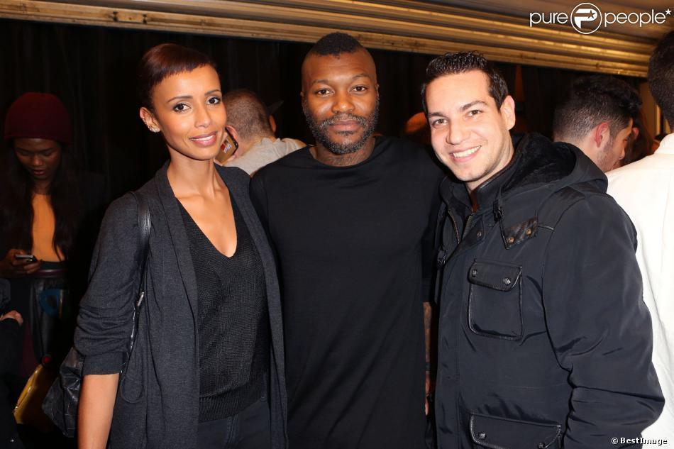 Exclusif - Sonia Rolland, Djibril Cissé, Benjamin Morgaine à l'inauguration de la boutiqueéphémèreMr Lenoir, marque du footballeur, à la Galerie RTR à Paris, le 13 decembre 2013.