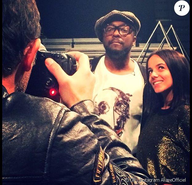 Alizée et Will.i.am en pleine préparation de leur duo sur Scream and shout, le samedi 14 décembre à Cannes pour les 15e NRJ Music Awards.