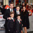 David, Victoria Beckham et leurs trois garçons Romeo, Brooklyn et Cruz, assistent à l'avant-première de Class of 92. Londres, le 1er décembre 2013.