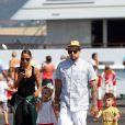 Nicole Richie, Joel Madden et leurs deux enfants Harlow et Sparrow en vacances à Saint-Tropez, le 24 juillet 2013.