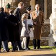 Le prince William, Catherine Kate Middleton, la duchesse de Cambridge, le prince Edward, comte de Wessex, Sophie, la comtesse de Wessex, et leur fille Lady Louise à la messe de Noël à l'église St Mary Magdalene à Sandringham, le 25 décembre 2013.