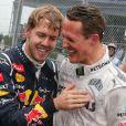 Sebastian Vettel et Michael Schumacher sur l'Autodrome Jose Carlos Pace de Sao Paulo, le 25 novembre 2012