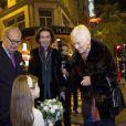 La reine Paola de Belgique, avec sa nouvelle coupe de cheveux ultracourte, et son époux le roi Albert II lors du concert de Noël annuel de la Fondation Reine Paola à l'Hôtel Plaza le 2 décembre 2013
