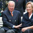 Le roi Albert et la reine Paola de Belgique lors d'une audience au palais Laeken le 3 septembre 2006
