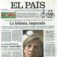 L'infante Cristina d'Espagne à la une des journaux espagnols en avril 2013 lors de sa première mise en examen par le juge José Castro, pour trafic d'influence. Une procédure abandonnée, mais suivie de l'ouverture d'une information judiciaire qui a conduit le 6 janvier 2014 à la mise en examen de la fille cadette du roi Juan Carlos Ier, inculpée de fraude fiscale et de blanchiment d'argent.