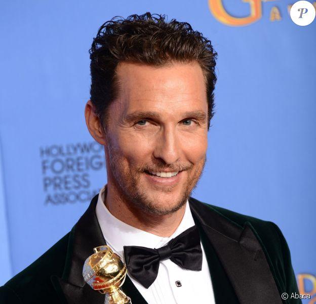 Matthew McConaughey meilleur acteur dans un film dramatique lors des Golden Globe Awards au Beverly Hilton Hotel à Los Angeles, le 12 janvier 2014.