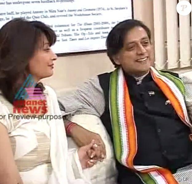 Shashi Tharoor et son épouse Sunanda Tharoor, retrouvée morte le 18 janvier 2014 dans des circonstances troubles, juste après avoir accusé son mari d'adultère.