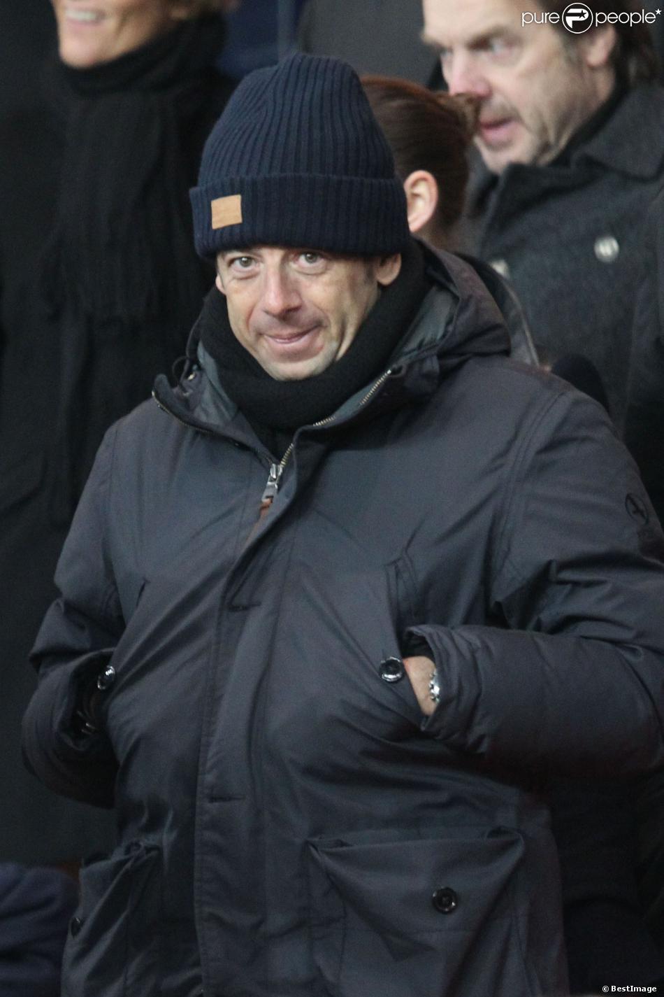 Patrick Bruel lors du match entre le PSG et Montpellier au Parc des Princes à Paris le 22 janvier 2014