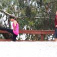 Lea Michele et Jonathan Groff font du sport à Los Angeles, le 24 janvier 2014.