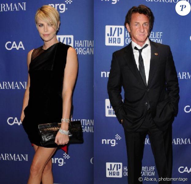 """Charlize Theron et Sean Penn (photomontage) lors du gala """"Sean Penn & Friends HELP HAITI HOME"""" présenté par Giorgio Armani à Beverly Hills le 11 janvier 2014"""