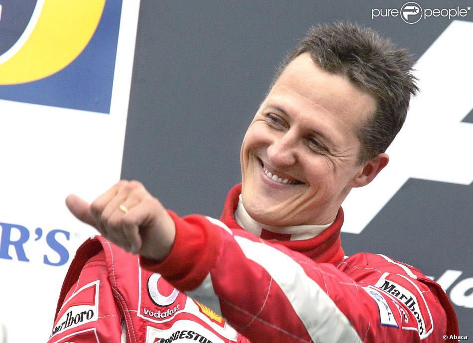 Michael Schumacher après sa seconde place au Grand Prix de San Marin à Imola, le 24 avril 2005