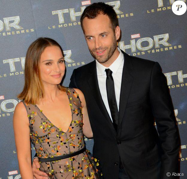 Natalie Portman et son mari Benjamin Millepied lors de la présentation de Thor - Le Monde des ténèbres, à Paris le 23 ocotbre 2013