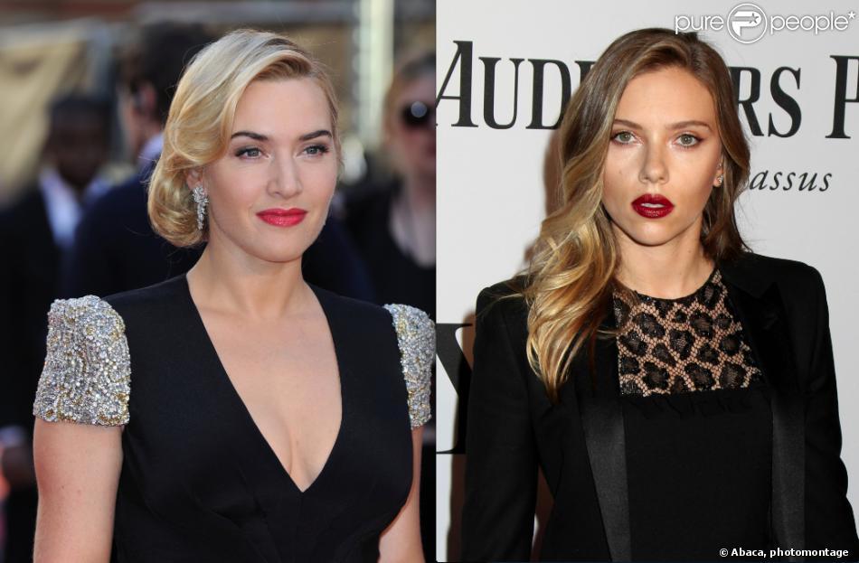 Photomontage de Kate Winslet (à Londres le 27 mars 2012) et Scarlett Johansson (à New York le 9 juin 2013)
