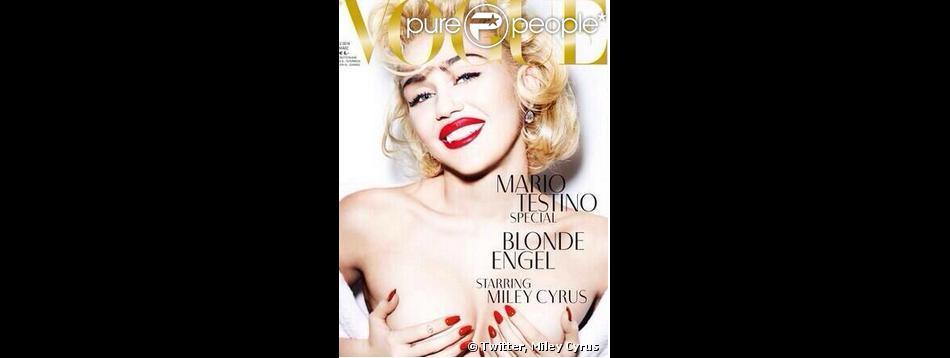 Miley Cyrus se le joue madone au seins nus en couverture du magazine Vogue Allemand, en février 2014.