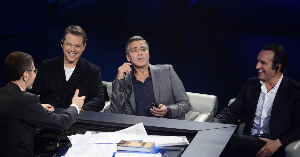 Fabio fazio matt damon george clooney jean dujardin sur for Dujardin chameau