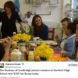 """""""Catherine de Cambridge lors de sa visite au lycée de Northolt, dans l'ouest de Londres, le 14 février 2014 pour l'inauguration officielle d'un nouveau site de l'association The Art Room, dont elle est la marraine."""""""